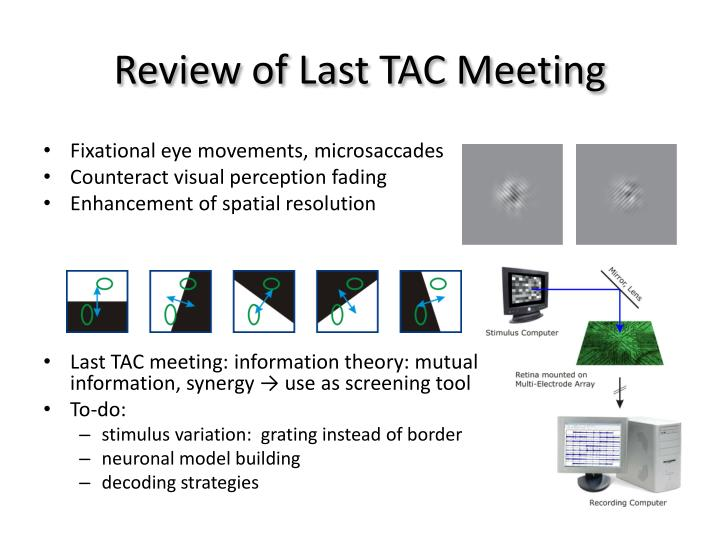 Review of last tac meeting