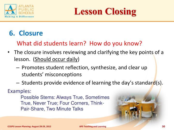 Lesson Closing