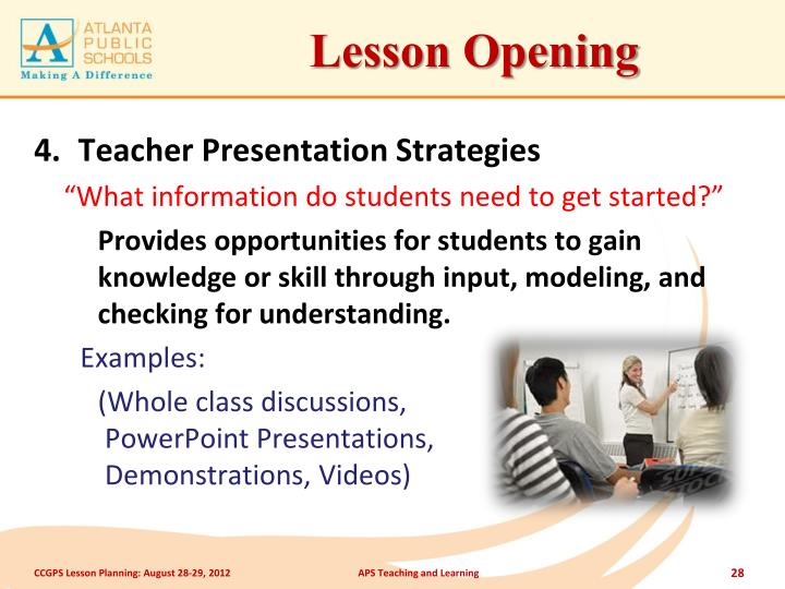 Lesson Opening