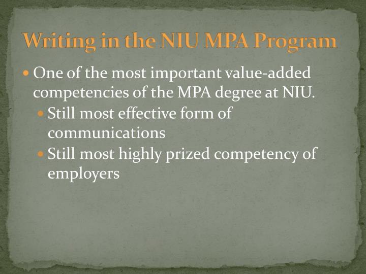 Writing in the niu mpa program