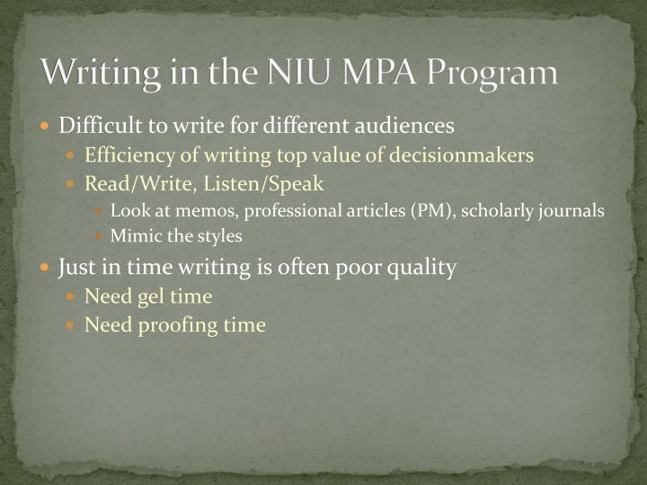 Writing in the niu mpa program1