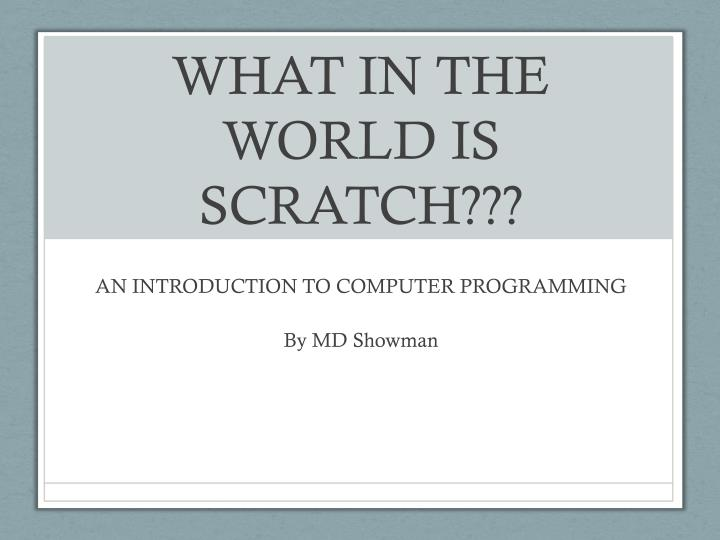 What in the world is scratch