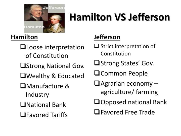 differences between hamilton and jefferson The battle over the bank: hamilton v jefferson assess and utilize primary sources such as the constitution and the opinions of hamilton and jefferson.