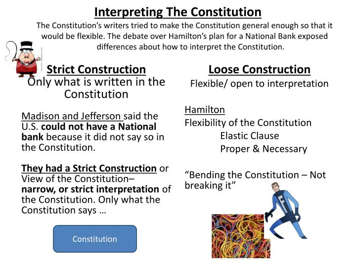 strict or loose constructionist Loose constructionist definition is - an advocate of loose construction (as of a statute or constitution) specifically : one favoring a liberal construction of the constitution of the us to give broader powers to the federal government.