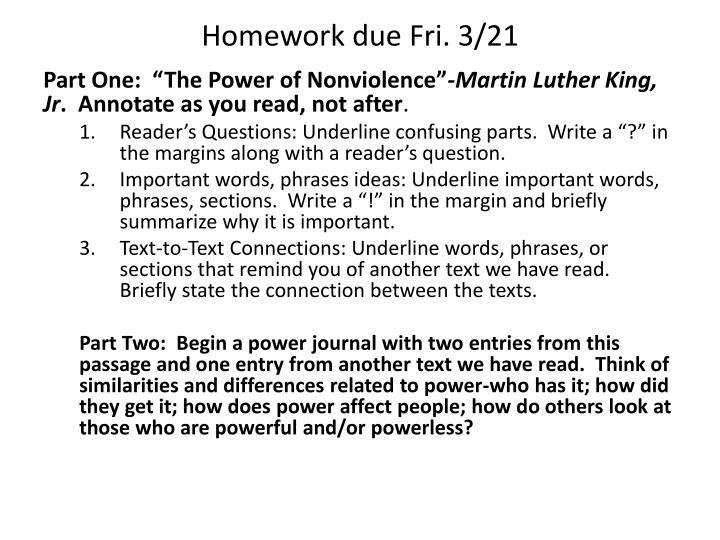 Homework due Fri. 3/21