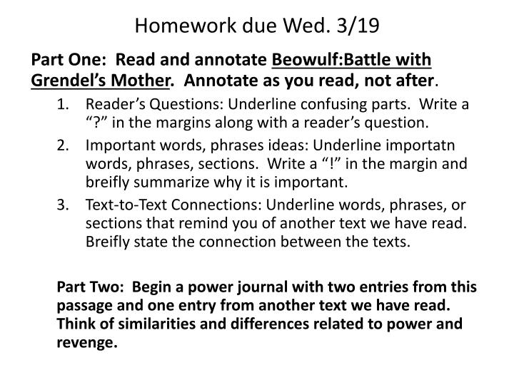 Homework due Wed. 3/19