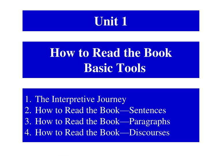 how to read the book basic tools n.