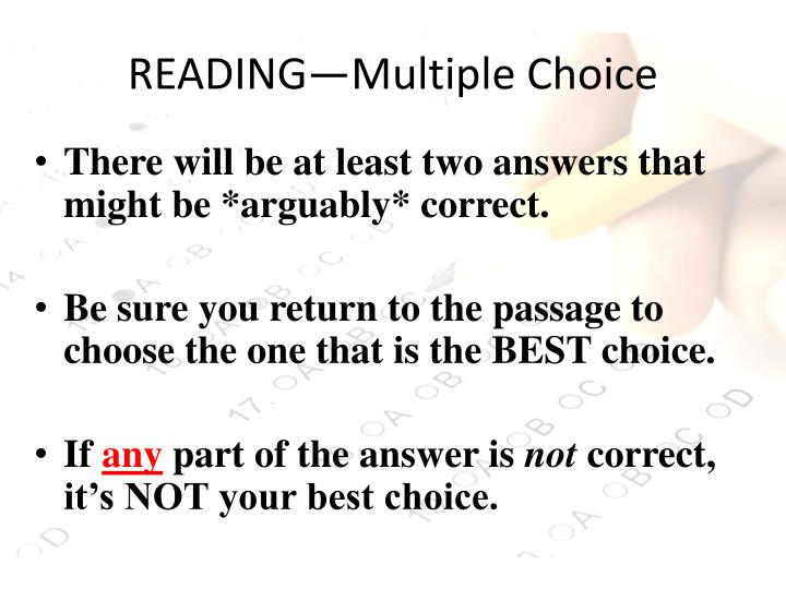 Reading multiple choice