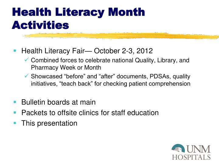 Health Literacy Month