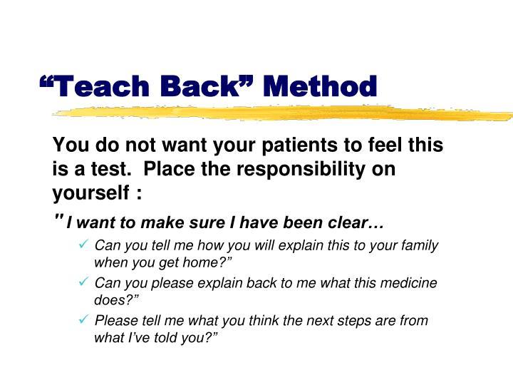 """""""Teach Back"""""""