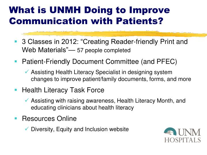What is UNMH Doing to Improve Communication with Patients?