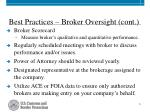 best practices broker oversight cont