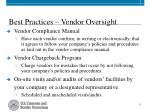 best practices vendor oversight