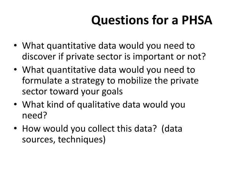 Questions for a PHSA