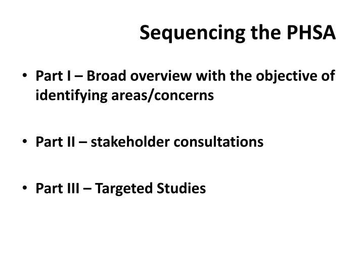 Sequencing the PHSA