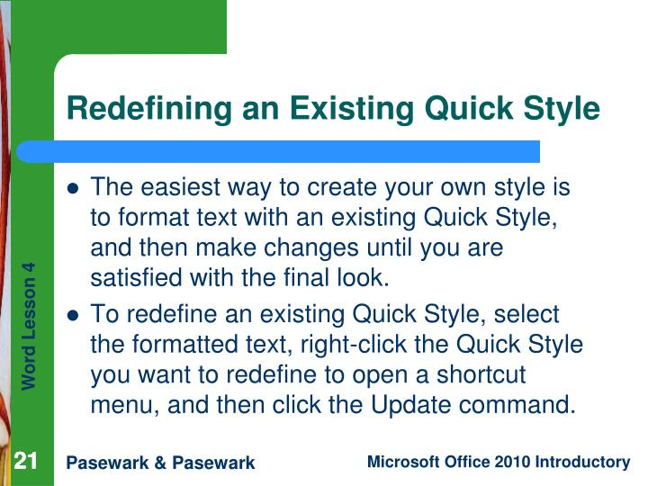 Redefining an Existing Quick Style