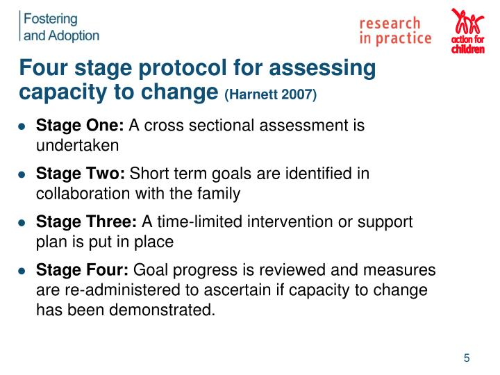 Four stage protocol for assessing capacity to change