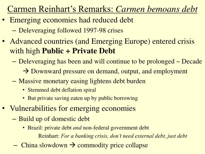 Carmen Reinhart's Remarks: