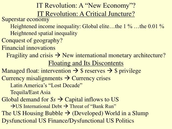 It revolution a new economy it revolution a critical juncture