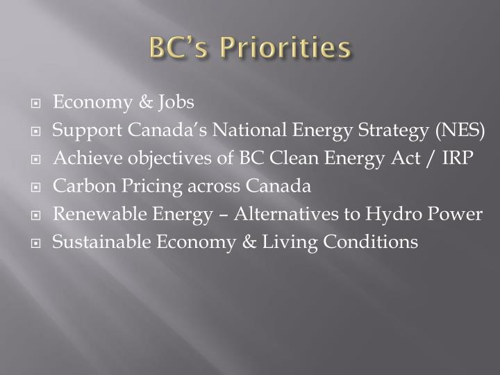 Bc s priorities