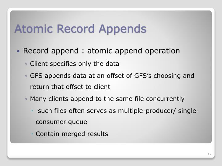 Atomic Record Appends