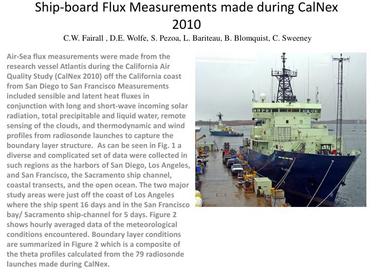 Ship-board Flux Measurements made during