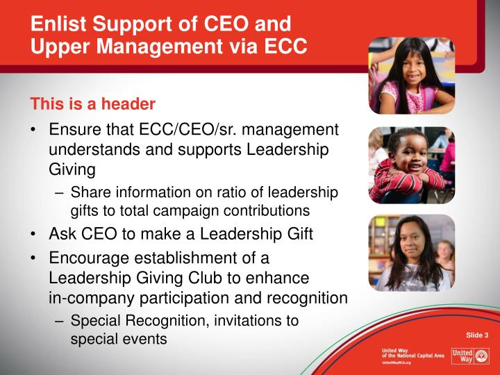 Enlist support of ceo and upper management via ecc