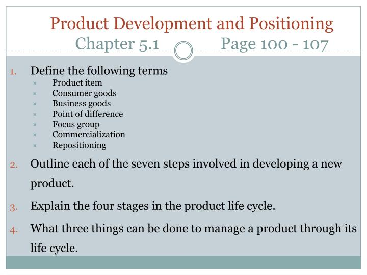 Product development and positioning chapter 5 1 page 100 107
