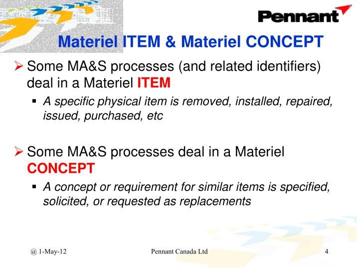 Materiel ITEM & Materiel CONCEPT