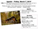agenda friday march 7 2014