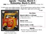agenda tuesday march 4 wednesday march 5 2014
