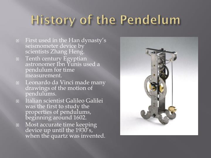 History of the pendelum
