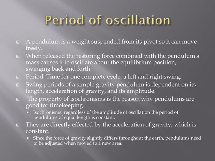 Period of oscillation