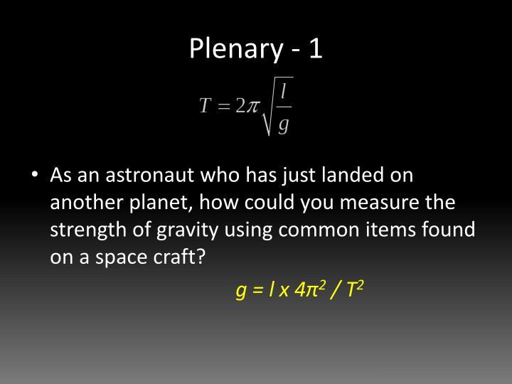 Plenary - 1