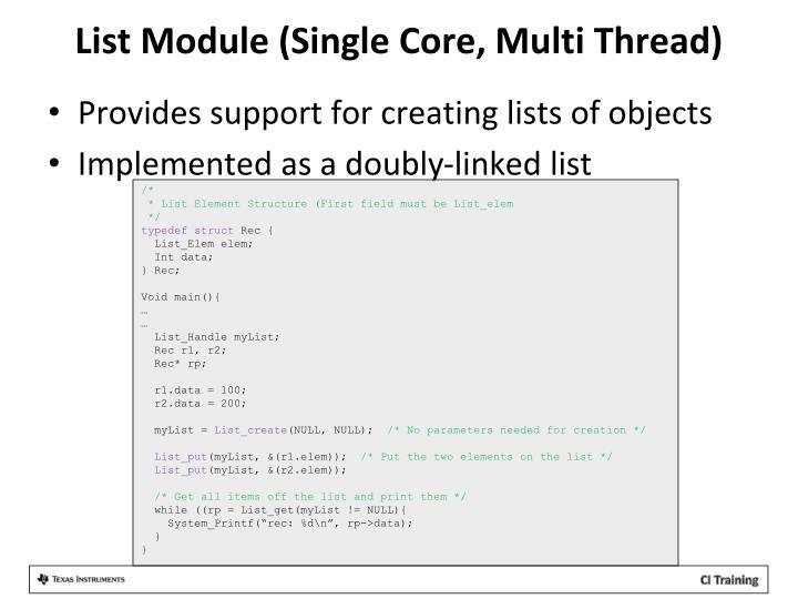 List Module (Single Core, Multi Thread)