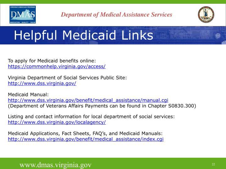 Helpful Medicaid Links