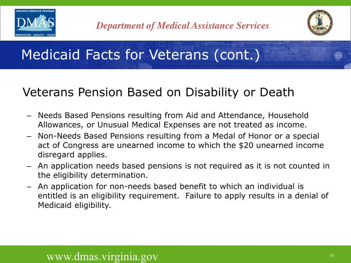 Medicaid Facts for Veterans (cont.)