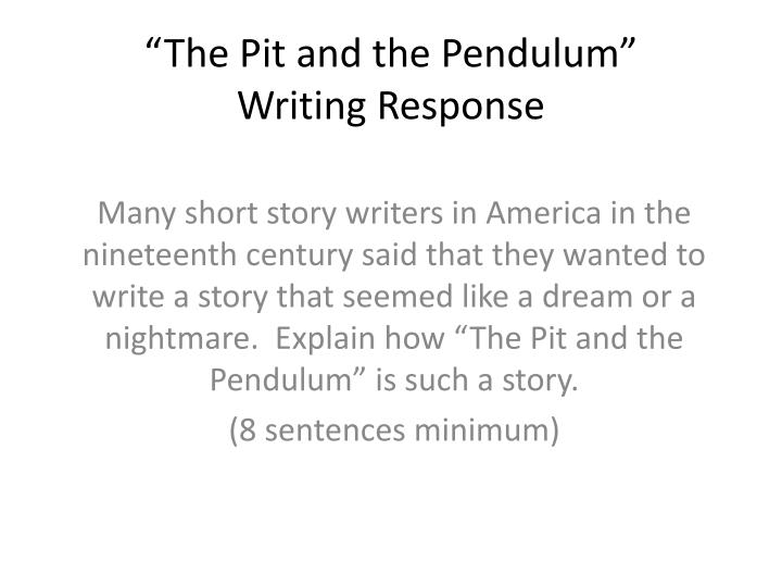 the pit and the pendulum writing response n.