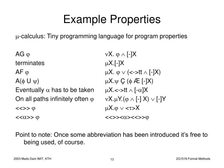 Example Properties