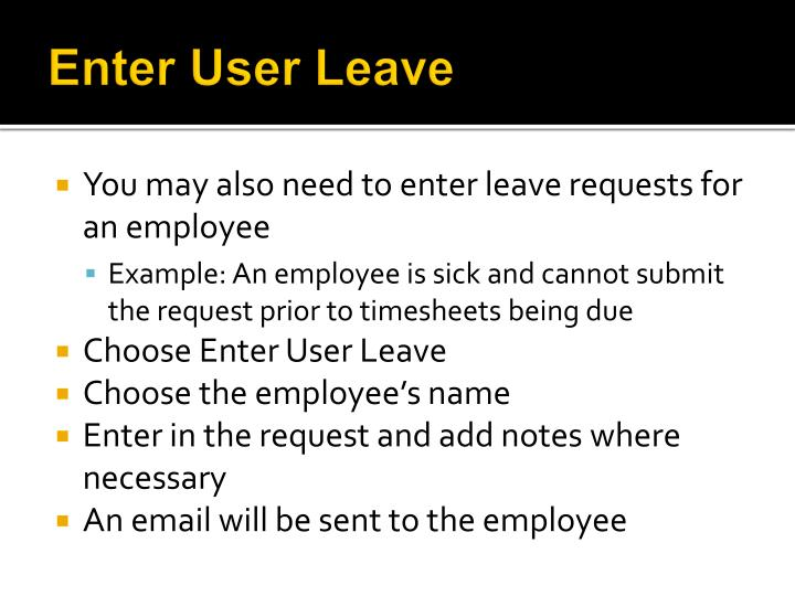 Enter User Leave