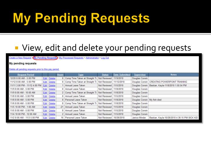 My Pending Requests