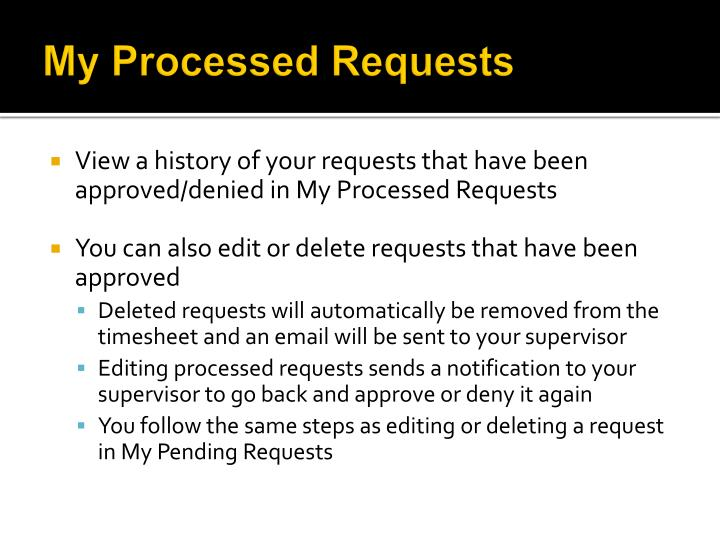 My Processed Requests