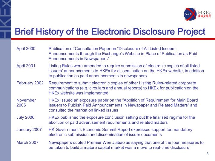 Brief history of the electronic disclosure project