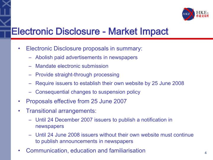 Electronic Disclosure - Market Impact