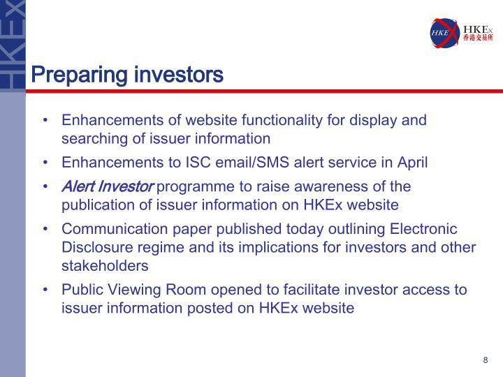 Preparing investors