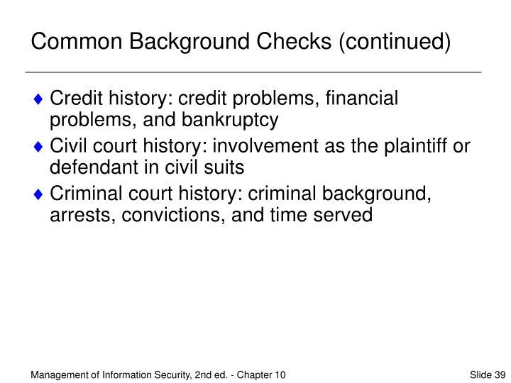 Common Background Checks (continued)
