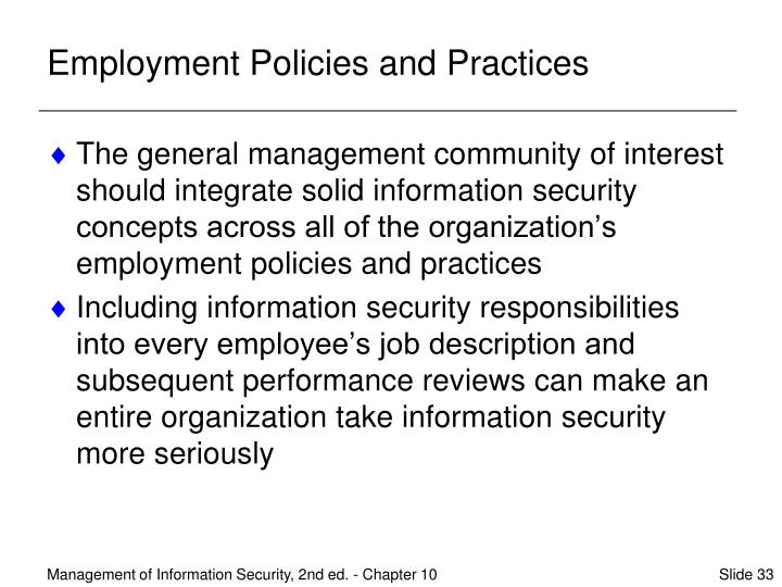 Employment Policies and Practices