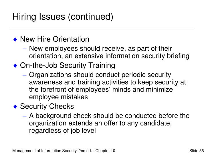 Hiring Issues (continued)