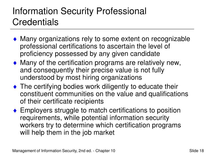 Information Security Professional Credentials