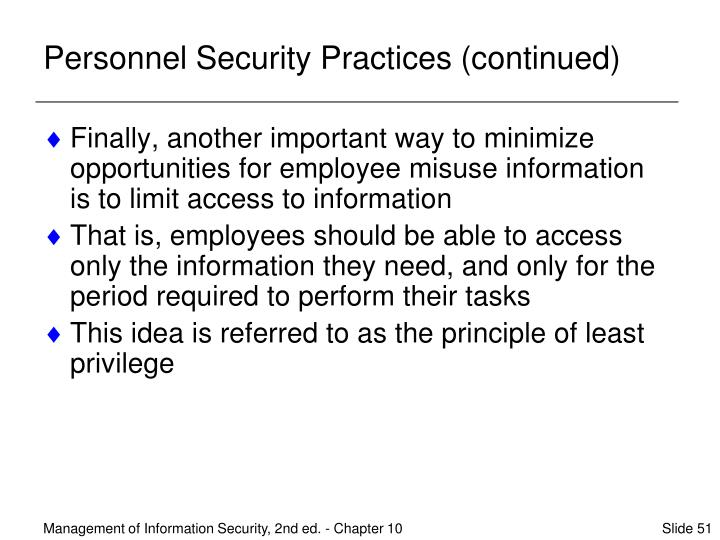 Personnel Security Practices (continued)
